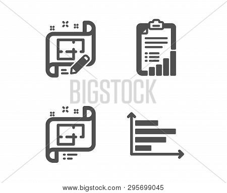 Set Of Checklist, Architectural Plan And Architect Plan Icons. Horizontal Chart Sign. Graph Report,