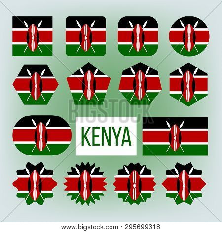 Kenya Various Shapes Vector National Flags Set. Kenya Official Emblems Icons Collection. Geographica