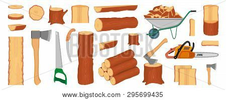 Set Of Wood Logs, Trunks, Stump And Planks. Woodcutter Or Lumberjack Tools. Forestry. Firewood Logs.