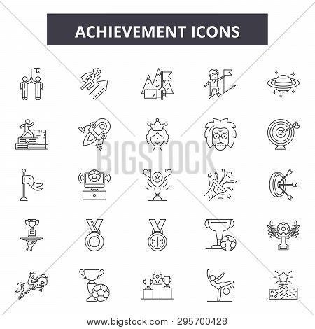Achievement Line Icons, Signs Set, Vector. Achievement Outline Concept, Illustration: Achievement, S