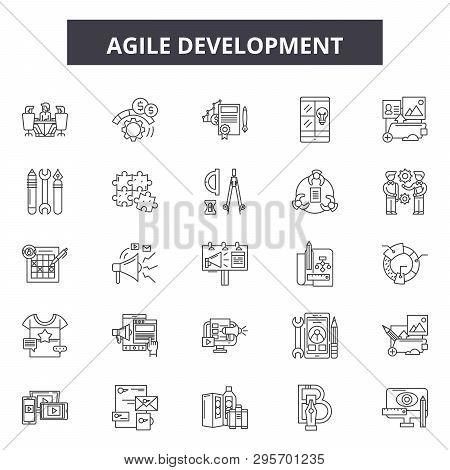 Agile Development Line Icons, Signs Set, Vector. Agile Development Outline Concept, Illustration: Ag