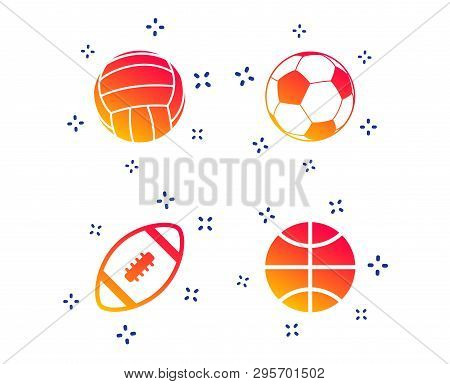 Sport Balls Icons. Volleyball, Basketball, Soccer And American Football Signs. Team Sport Games. Ran