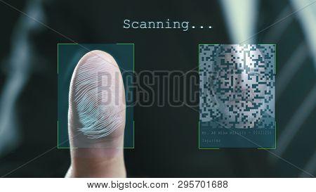 Futuristic Digital Processing Of Fingerprints As Man Holds His Hand Against A Modern Fingerprint Sca