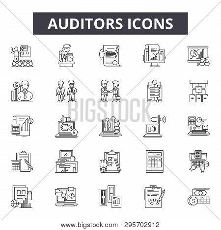 Auditors Line Icons, Signs Set, Vector. Auditors Outline Concept, Illustration: Business, Auditor, F