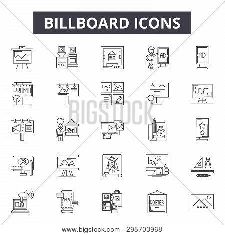 Billboard Line Icons, Signs Set, Vector. Billboard Outline Concept, Illustration: Advertising, Billb