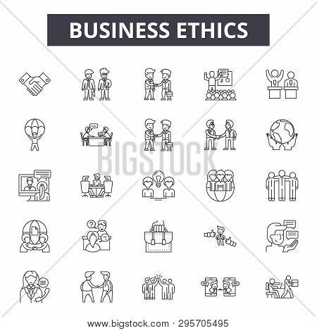 Business Ethics Line Icons, Signs Set, Vector. Business Ethics Outline Concept, Illustration: Busine