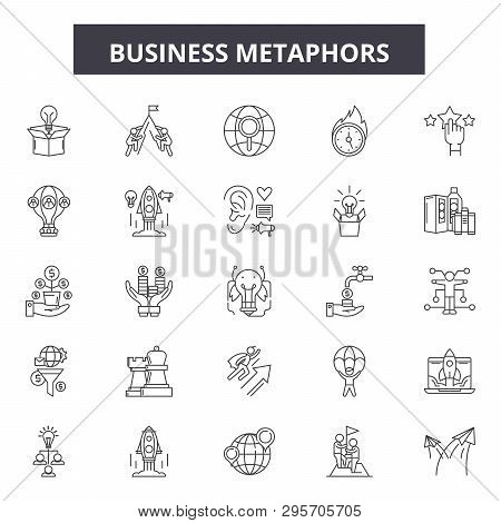 Business Metaphors Line Icons, Signs Set, Vector. Business Metaphors Outline Concept, Illustration: