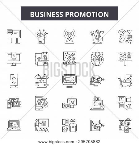 Business Promotion Line Icons, Signs Set, Vector. Business Promotion Outline Concept, Illustration:
