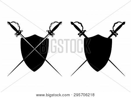 Crossed Epee Swords And Heraldic Shield - Black And White Vector Silhouette Design Set