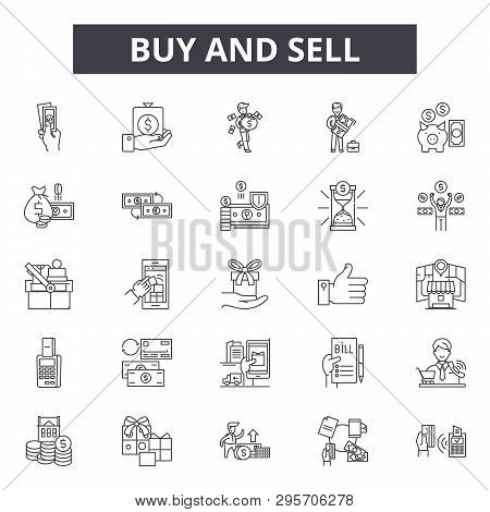 Buy And Sell Line Icons, Signs Set, Vector. Buy And Sell Outline Concept, Illustration: Buy, Busines