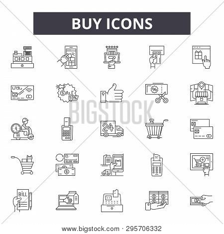 Buy Line Icons, Signs Set, Vector. Buy Outline Concept, Illustration: Business, Buy, Store, Commerce
