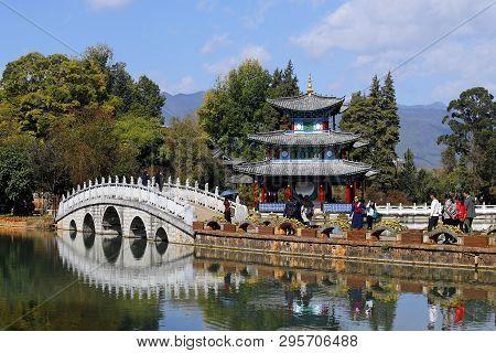 Lijiang, Yunnan, China - November, 2018. Chinese Gardens In Lijiang. Black Dragon Pool In Jade Sprin