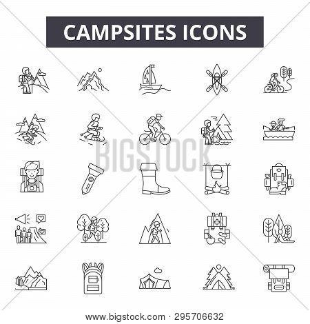 Campsites Line Icons, Signs Set, Vector. Campsites Outline Concept, Illustration: Campsite, Tent, Na