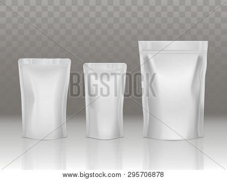 Foil Or Plastic Sachet Pouch Set With Valve And Seal Isolated On Transparent Background. Different S