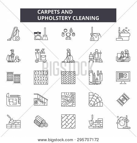 Carpets and upholstery cleaning line icons, signs set, vector. Carpets and upholstery cleaning outline concept, illustration: upholstery, carpet, pictogram, service, cleaning, logo poster