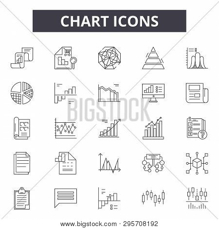 Chart Line Icons, Signs Set, Vector. Chart Outline Concept, Illustration: Chart, Business, Diagram,