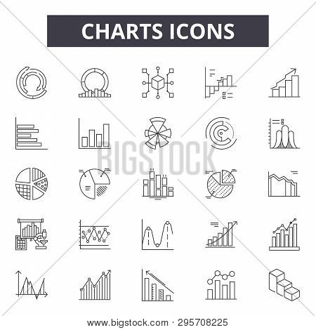 Charts Line Icons, Signs Set, Vector. Charts Outline Concept, Illustration: Chart, Business, Diagram