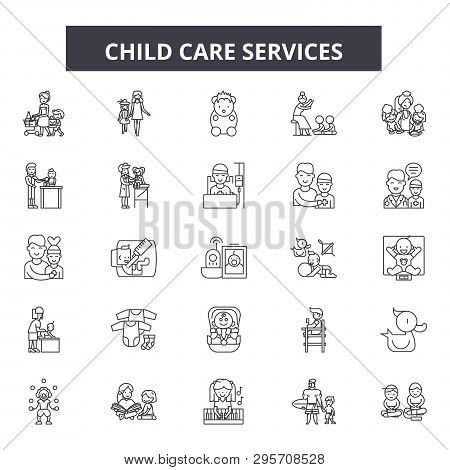 Child Care Service Line Icons, Signs Set, Vector. Child Care Service Outline Concept, Illustration: