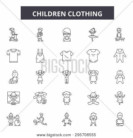 Children Clothing Line Icons, Signs Set, Vector. Children Clothing Outline Concept, Illustration: Ba