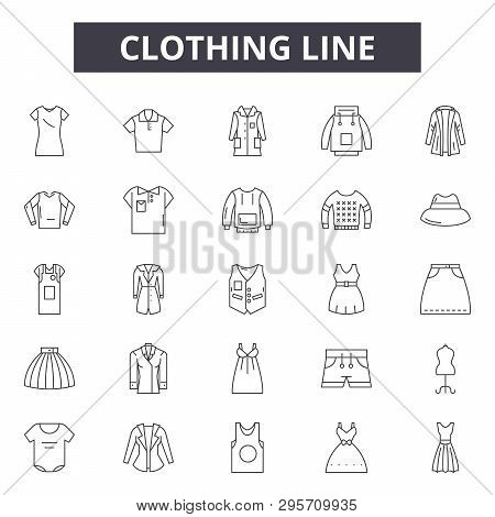 Clothing Line Line Icons, Signs Set, Vector. Clothing Line Outline Concept, Illustration: Clothing,