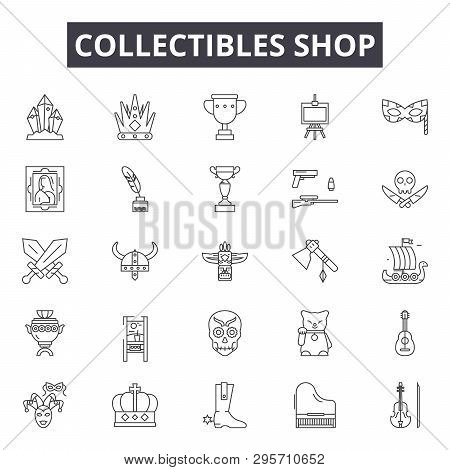 Collectibles Shop Line Icons, Signs Set, Vector. Collectibles Shop Outline Concept, Illustration: Sh