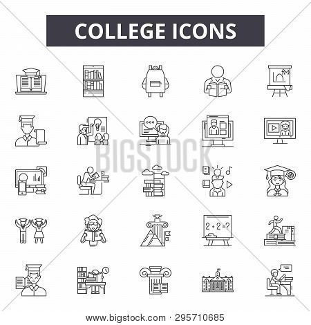 College Line Icons, Signs Set, Vector. College Outline Concept, Illustration: Education, School, Col
