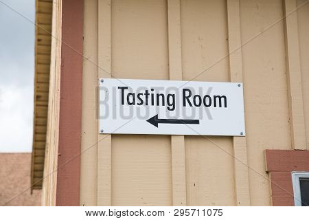 Tasting Room Sign At Winery Open To The Public