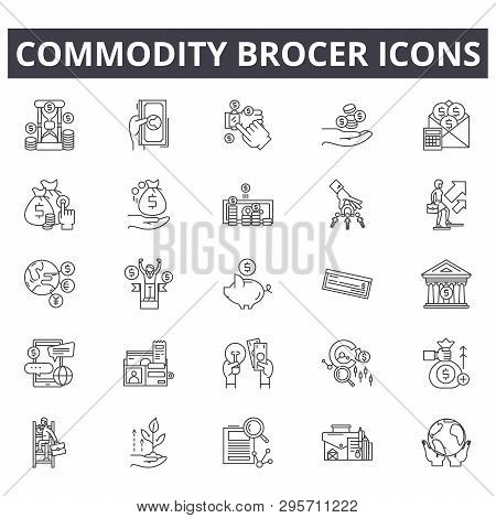 Commodity Brocer Line Icons, Signs Set, Vector. Commodity Brocer Outline Concept, Illustration: Top