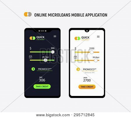 Loan Money Mobile Application Concept. Micro Credit Ui Ux Interface. Isolated Mobile Phones On White