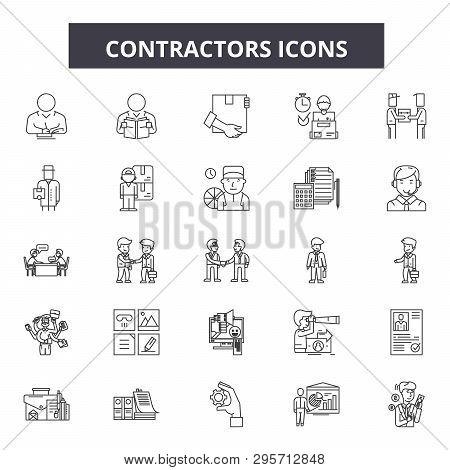 Contractors Line Icons, Signs Set, Vector. Contractors Outline Concept, Illustration: Contractor, Co