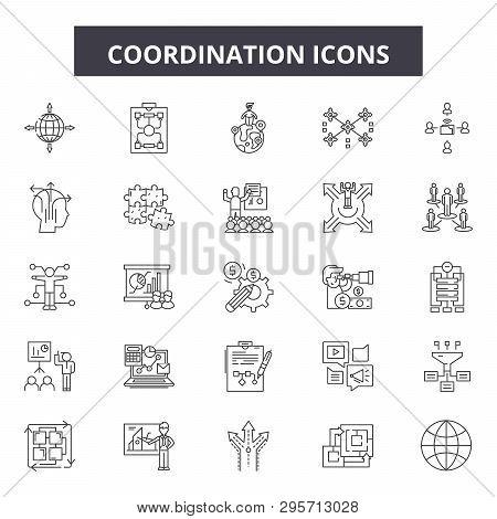Coordination Line Icons, Signs Set, Vector. Coordination Outline Concept, Illustration: Business, Co