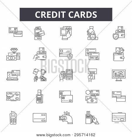 Credit Cards Line Icons, Signs Set, Vector. Credit Cards Outline Concept, Illustration: Card, Bank,
