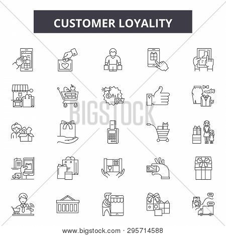 Customer Loyality Line Icons, Signs Set, Vector. Customer Loyality Outline Concept, Illustration: Cu