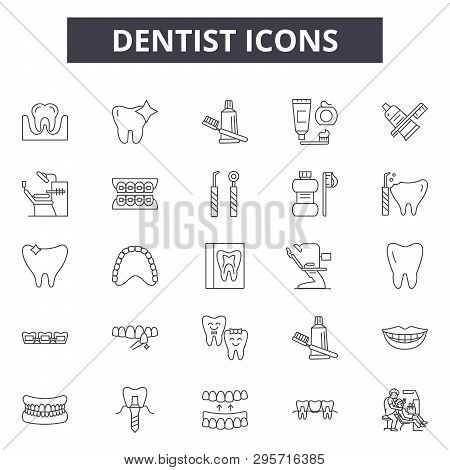 Dentist Line Icons, Signs Set, Vector. Dentist Outline Concept, Illustration: Dentist, Tooth, Dental