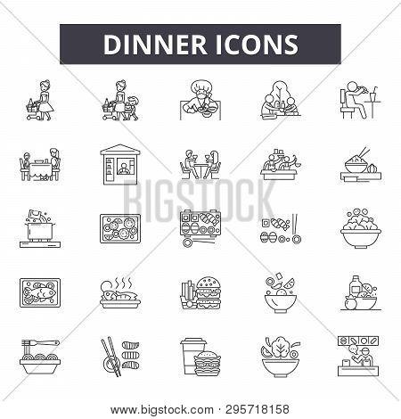 Dinner Line Icons, Signs Set, Vector. Dinner Outline Concept, Illustration: Dinner, Food, Restaurant
