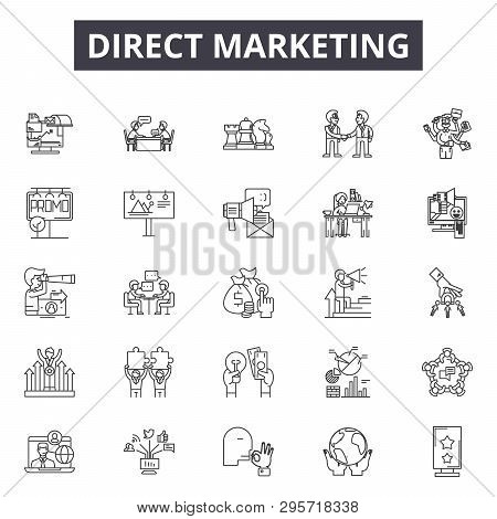 Direct Marketing Line Icons, Signs Set, Vector. Direct Marketing Outline Concept, Illustration: Mark