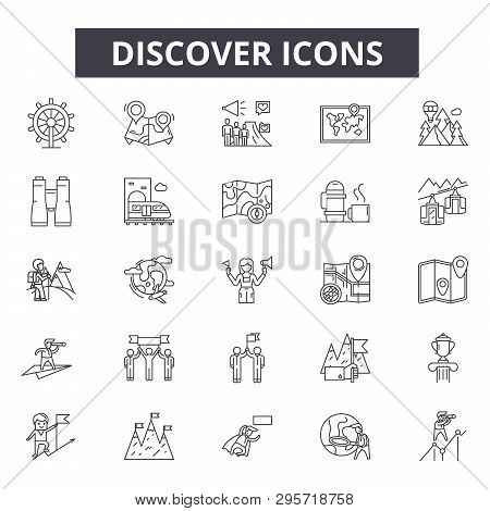Discover Line Icons, Signs Set, Vector. Discover Outline Concept, Illustration: Discover, Desearch,
