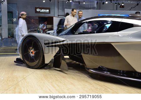 Dubai, Uae - November 18: The Aston Martin Valkyrie Hybrid Electric Sports Car Is On Dubai Motor Sho
