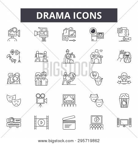 Drama Line Icons, Signs Set, Vector. Drama Outline Concept, Illustration: Drama, Theater, Play, Art,