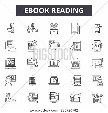 Ebook Reading Line Icons, Signs Set, Vector. Ebook Reading Outline Concept, Illustration: Ebook, Boo