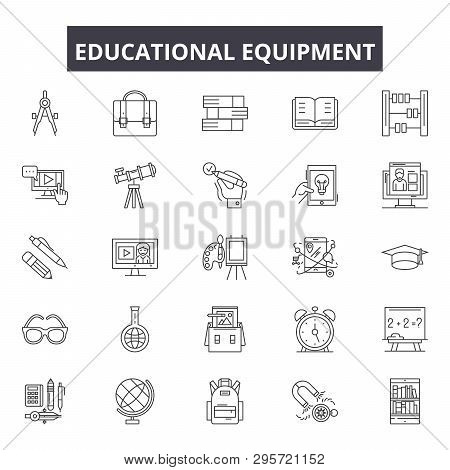 Educational Equipment Line Icons, Signs Set, Vector. Educational Equipment Outline Concept, Illustra