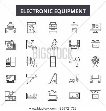 Electronic Equipment Line Icons, Signs Set, Vector. Electronic Equipment Outline Concept, Illustrati