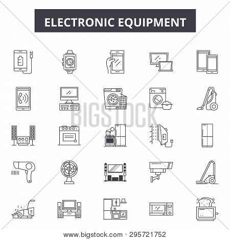 Electronics Line Icons, Signs Set, Vector. Electronics Outline Concept, Illustration: Technology, Co