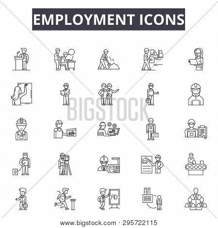 Employment Line Icons, Signs Set, Vector. Employment Outline Concept, Illustration: Employment, Job,