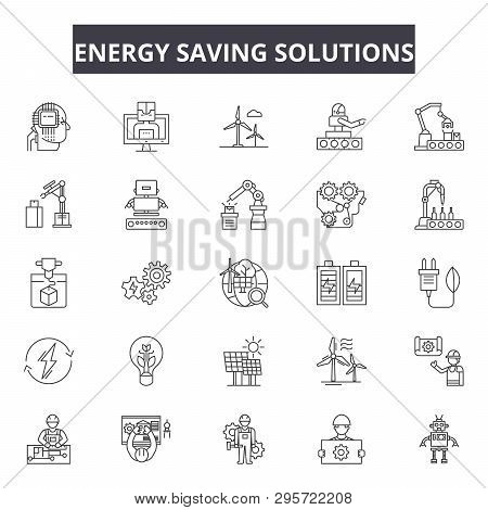 Energy Saving Solutions Line Icons, Signs Set, Vector. Energy Saving Solutions Outline Concept, Illu