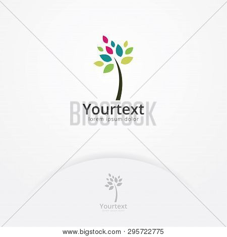 Creative Logo Of Tree With Simple Colorful Leaves, Symbol Of Nature And Environment. Beauty Nature L