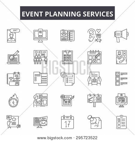 Event Planning Services Line Icons, Signs Set, Vector. Event Planning Services Outline Concept, Illu