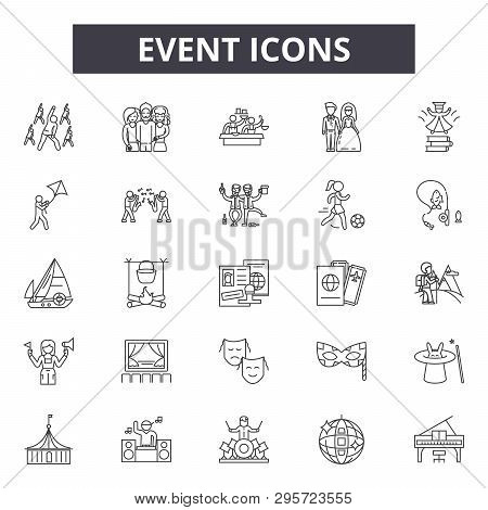Event Line Icons, Signs Set, Vector. Event Outline Concept, Illustration: Event, Calendar, Isolated,