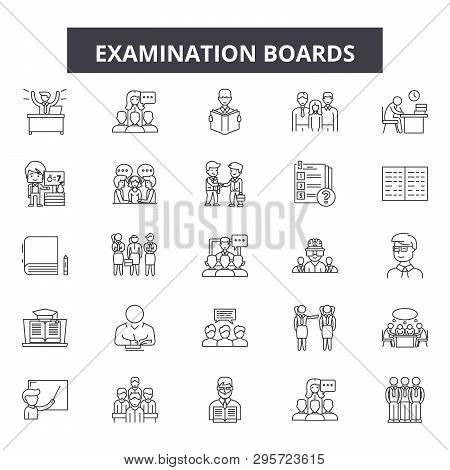 Examination Boards Line Icons, Signs Set, Vector. Examination Boards Outline Concept, Illustration: