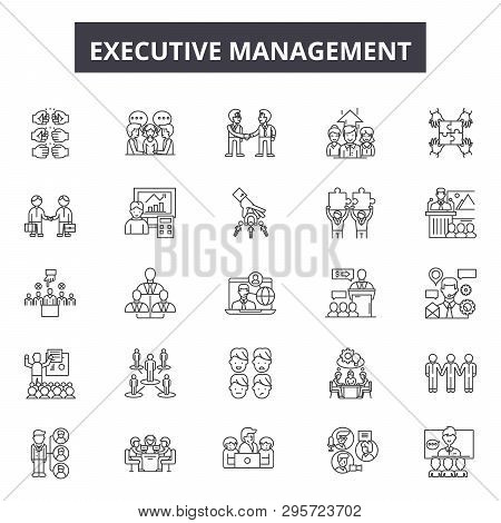 Executive Management Line Icons, Signs Set, Vector. Executive Management Outline Concept, Illustrati